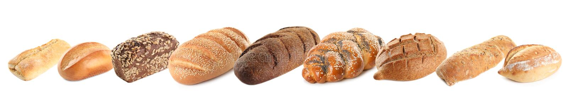 Set of fresh bread on white. Background stock images