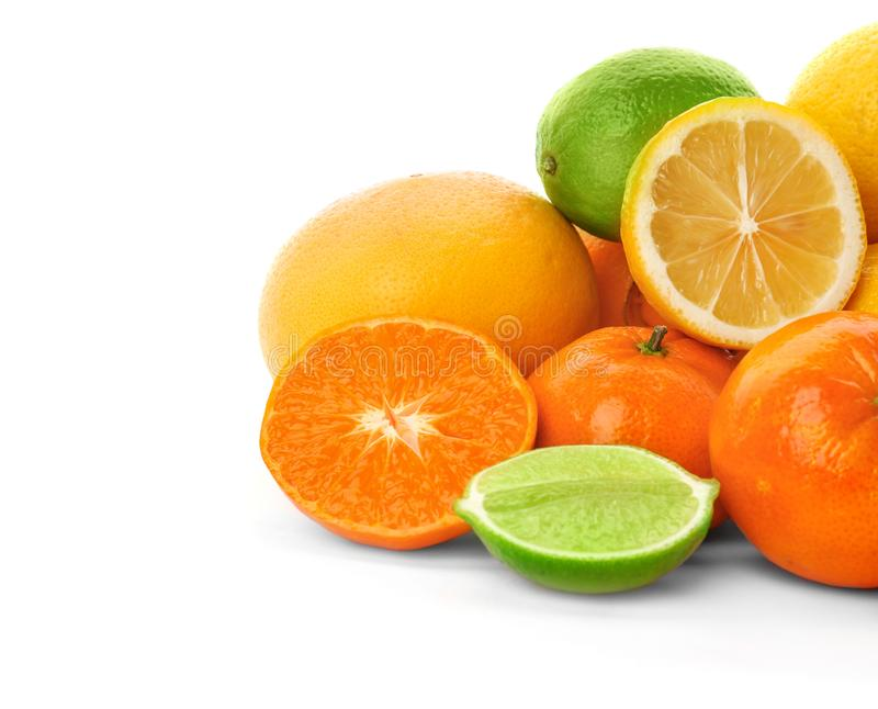 Set of fresh citrus fruits. On white background stock image