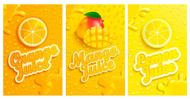 Set of fresh and cold lemon,mango,orange juices. Set of fresh and cold lemon,mango,orange juices with drops from condensation on background, splashing and fruit vector illustration