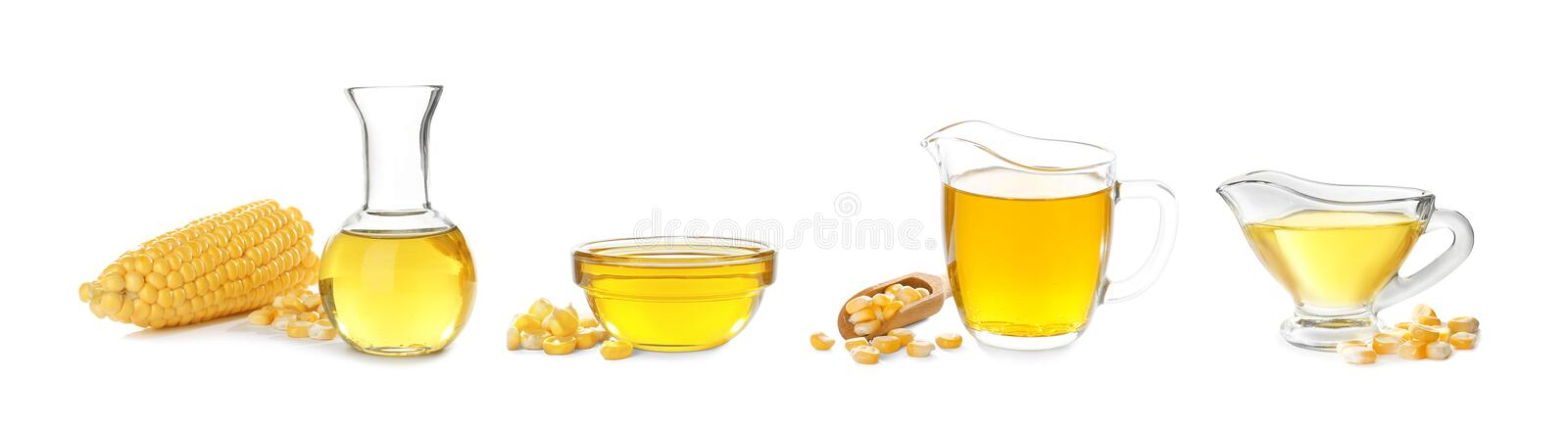 Set with fresh corn oil. On white background royalty free stock photos