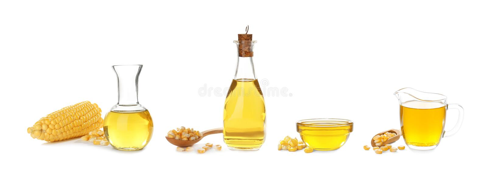 Set with fresh corn oil. On white background royalty free stock image