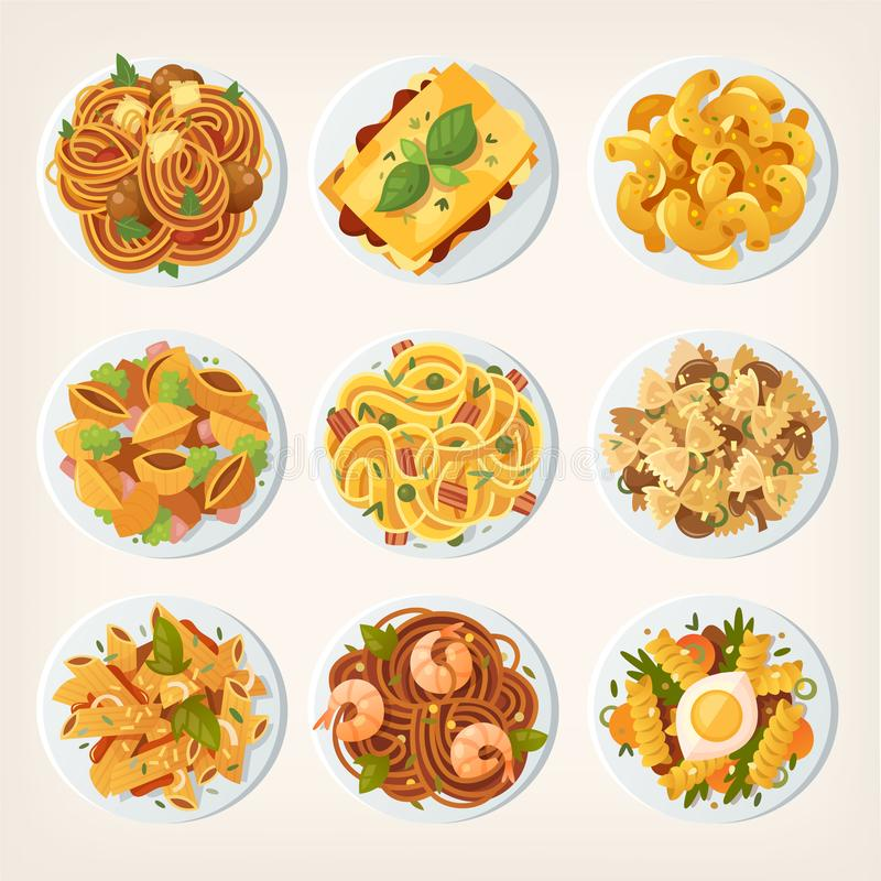 Set of fresh delicious fast foods from asian streets. Variety of. Snacks. Vector illustrations royalty free illustration