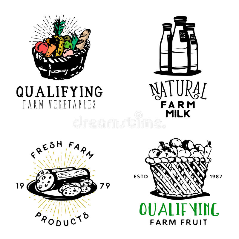Set of fresh farm food badges in vintage style royalty free illustration