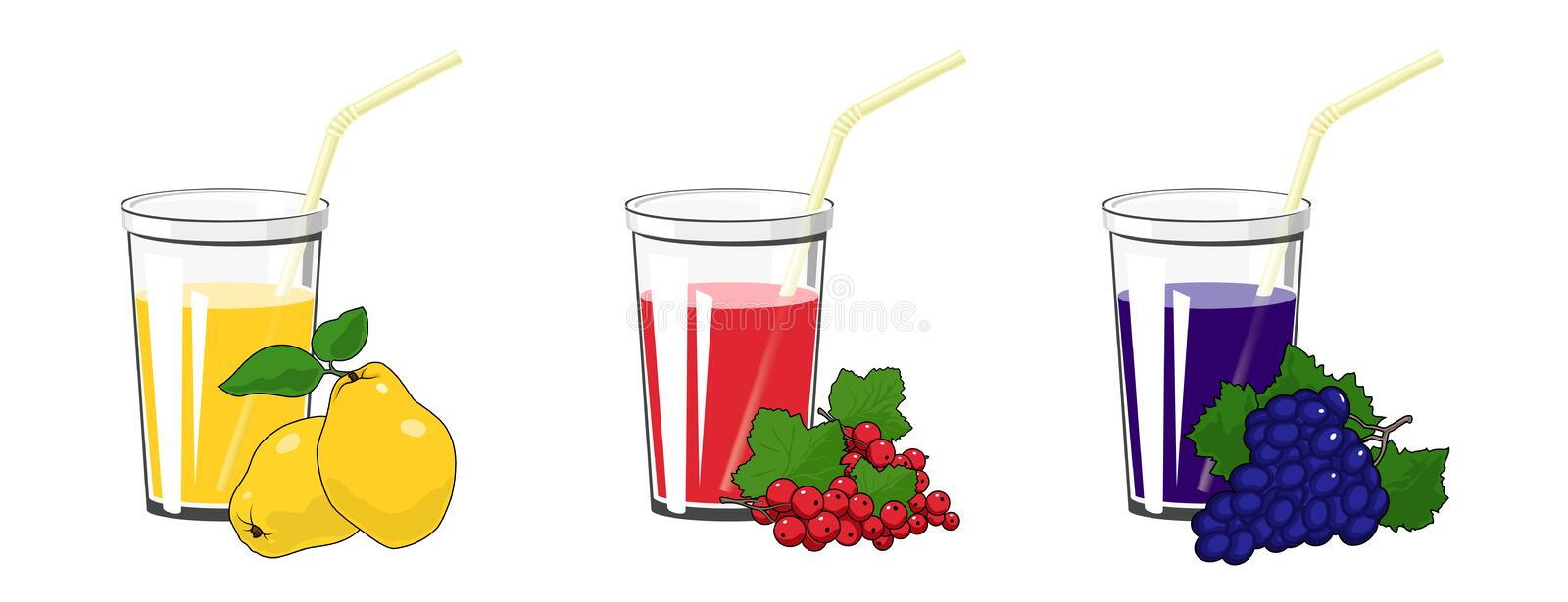 Quince, Redcurrant and Grapes Juices. Set of Fresh Fruit and Berry Juices, Yellow Quince with Redcurrant and Grapes , Glass with Juice and a Straw Isolated on vector illustration