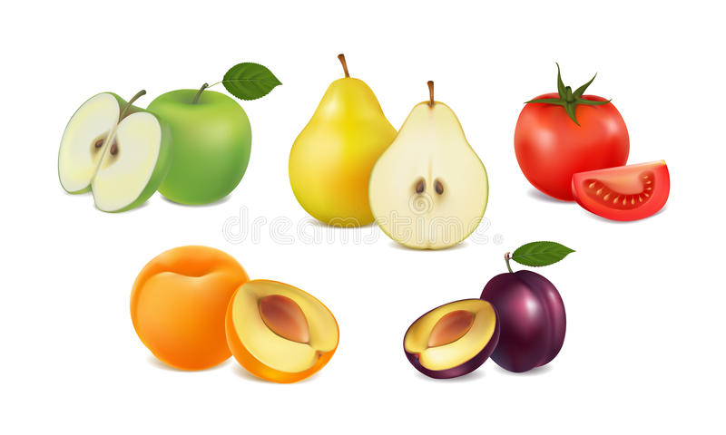 Set of fresh fruit and vegetables on white background royalty free illustration