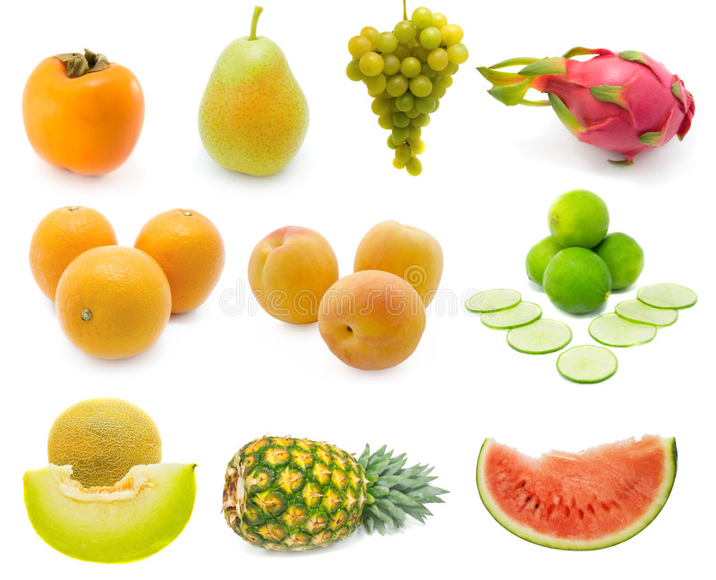 Set of fresh fruits royalty free stock photos