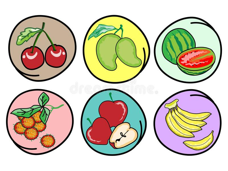 Download Set Of Fresh Fruits On Round Background Stock Vector - Image: 28982873