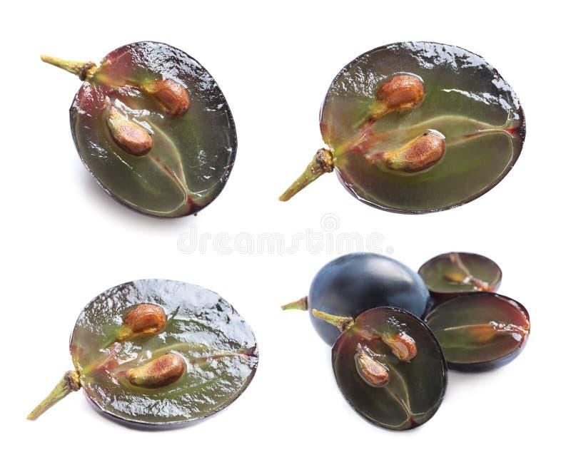 Set with fresh grapes on white background. Set with fresh grapes isolated on white background stock photo