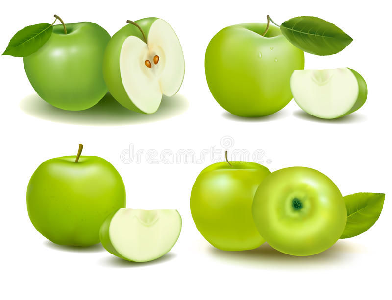 Set of fresh green apples with green leafs. vector illustration