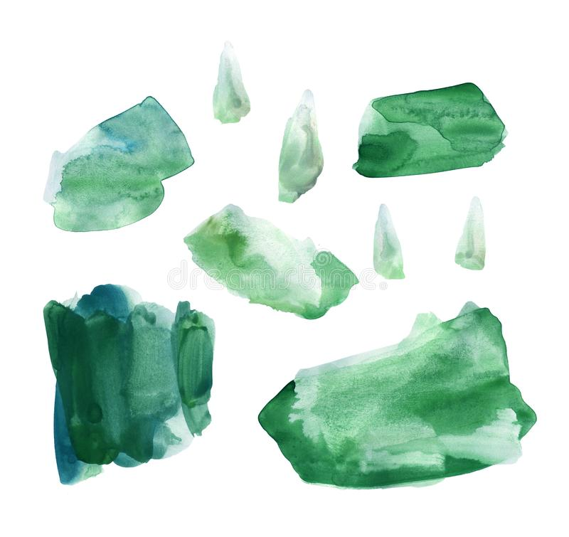 Set of fresh green hand drawn watercolor stains royalty free illustration