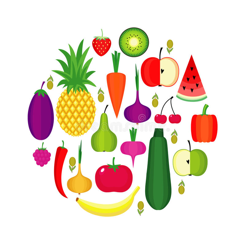 Set of fresh healthy fruits and vegetables made in flat style. Healthy lifestyle or diet vector design element. royalty free illustration