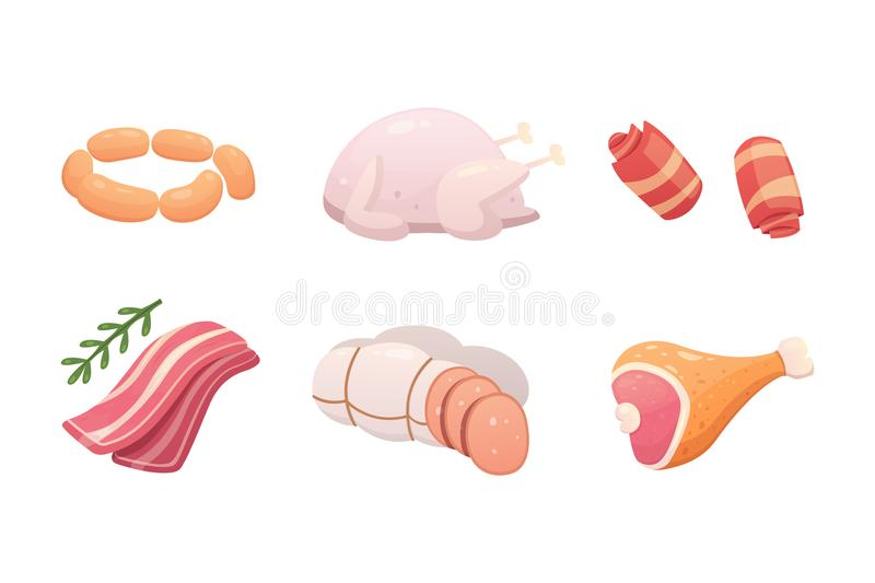 Set fresh meat products. Steak in cartoon style. Vector isolated illustration beef steak, pork sausage, ham, bacon slice. Menu design stock illustration