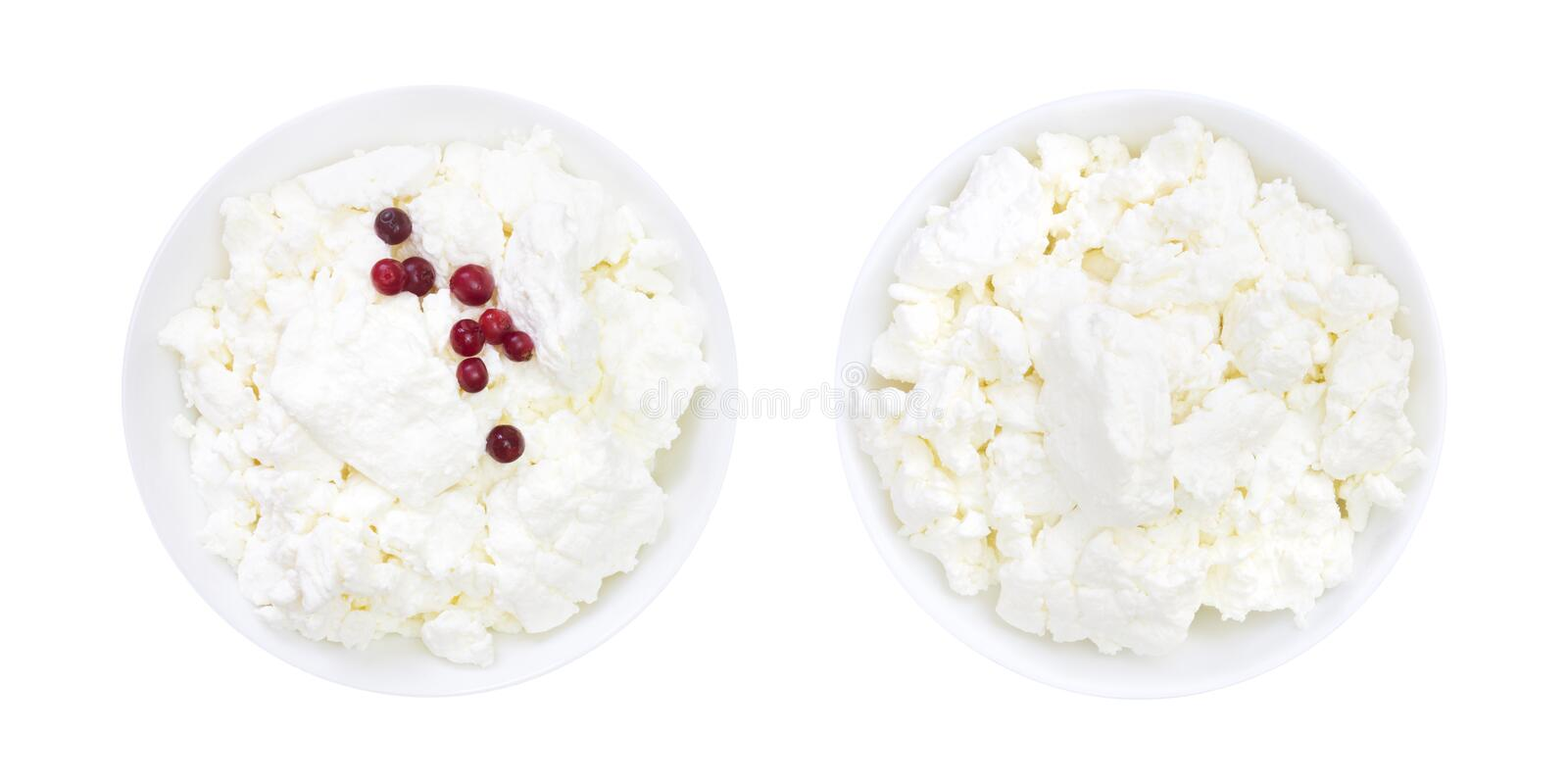 Set of fresh natural cottage cheese with cranberry yogurt in a white ceramic bowl isolated on white. An overhead photo of organic royalty free stock images