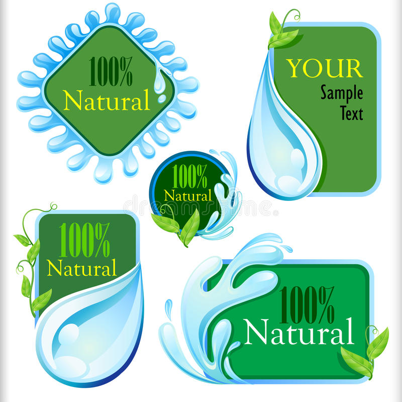 Set of Fresh and Natural Water Labels. Useful for ALL your water related fields stock illustration
