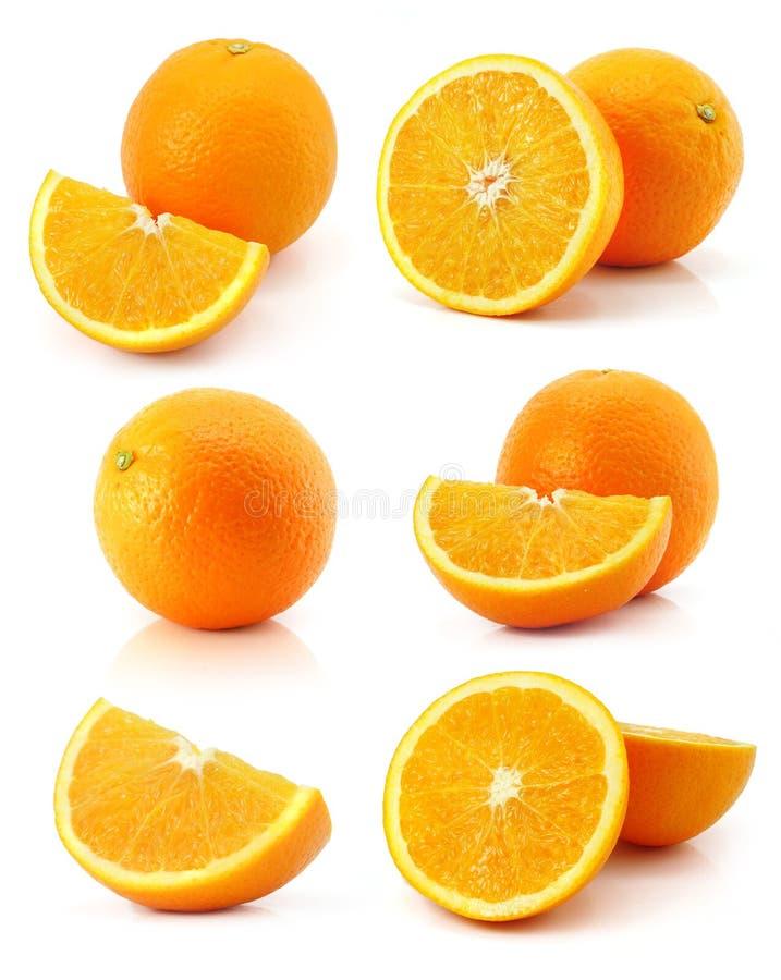 Set of fresh orange fruits isolated on white stock images