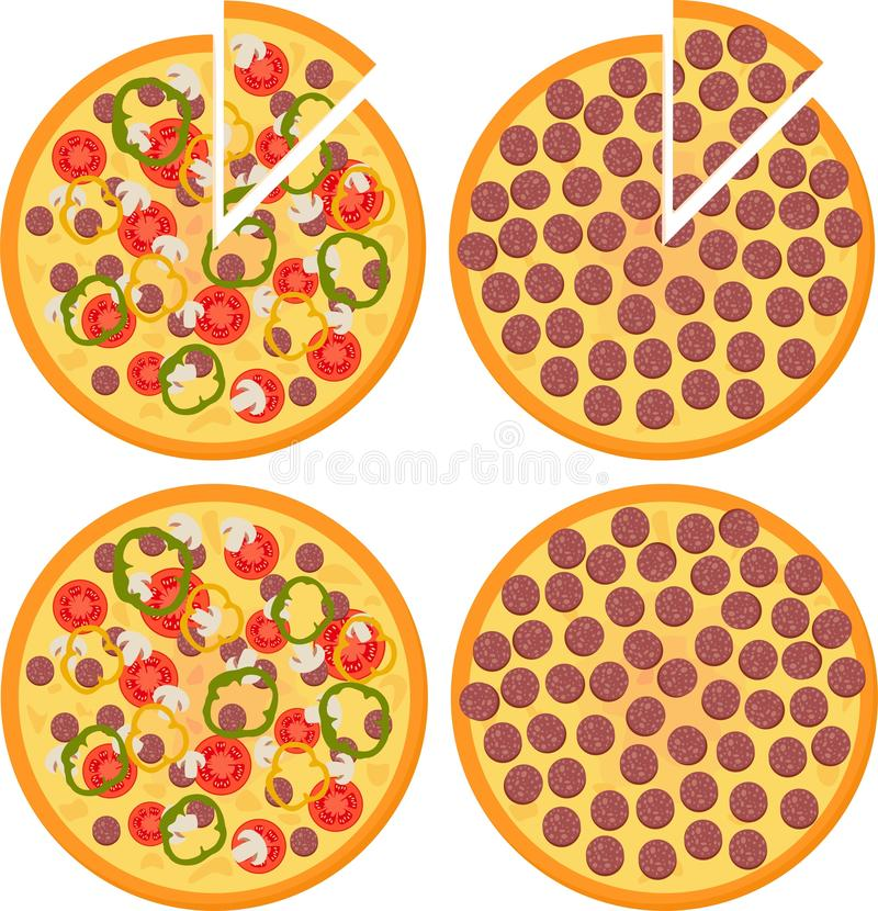 Set of Fresh pizza with tomatoes, cheese, mushrooms and Pepperoni Pizza, top view. Vector Illustration vector illustration