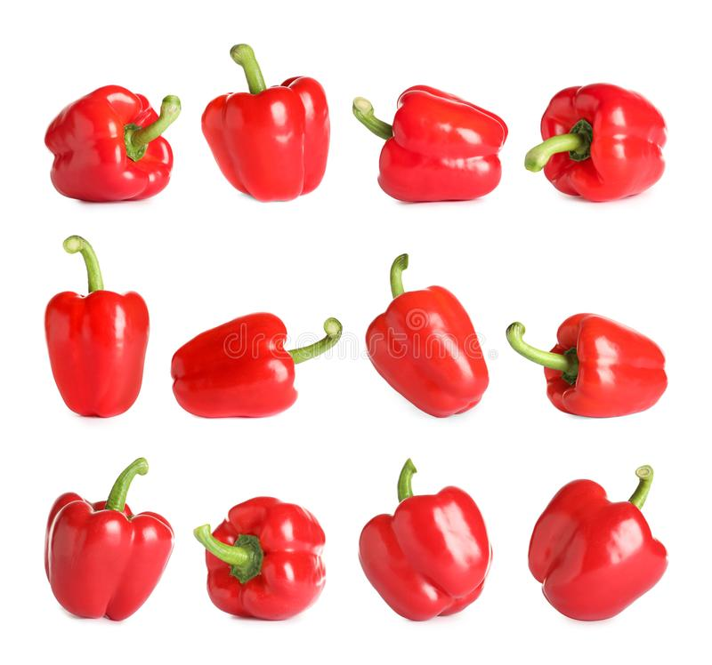 Set of fresh red bell peppers on white. Background stock image