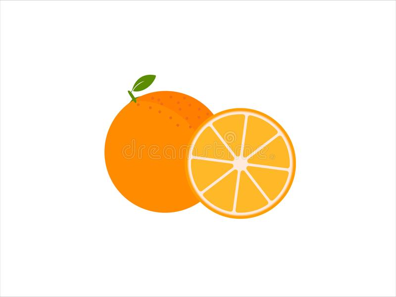 Set of fresh ripe half oranges royalty free illustration