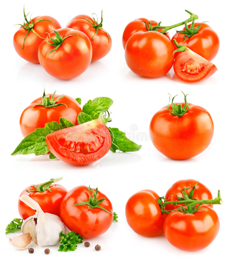 Free Set Fresh Tomato Fruits With Green Leaves Stock Photo - 14293970