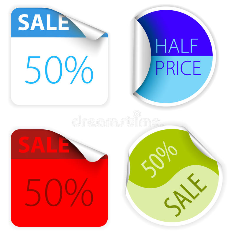 Download Set Of Fresh Two Colors Sale Labels Stock Vector - Illustration: 13104578