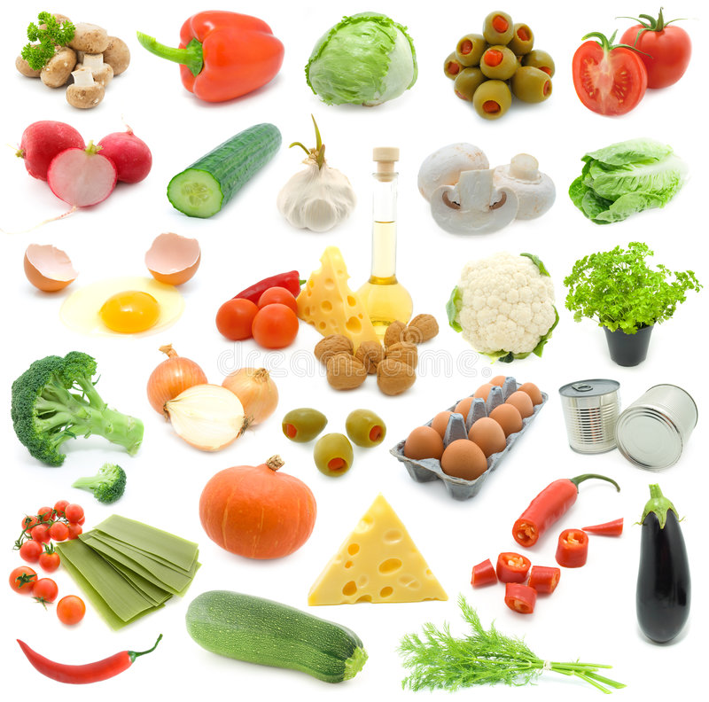 Set of fresh vegetables stock image