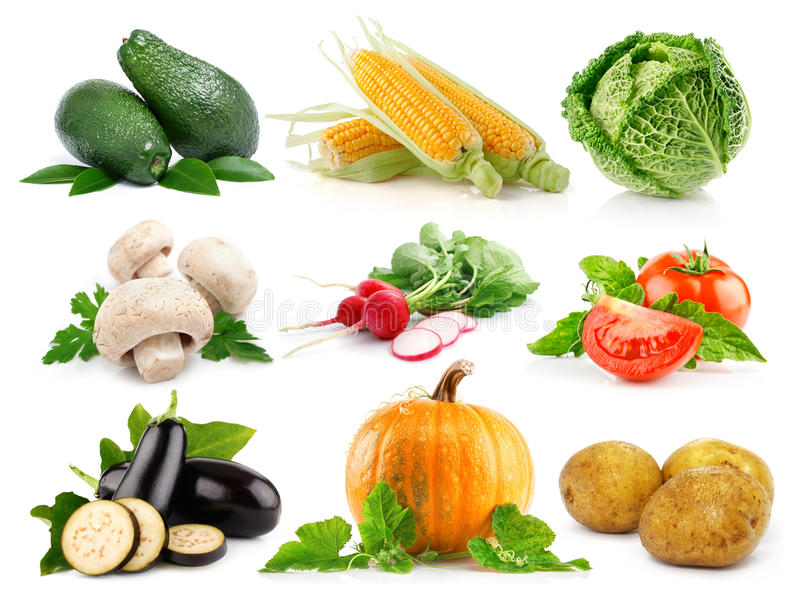 Set fresh vegetables with green leaves isolated stock photo