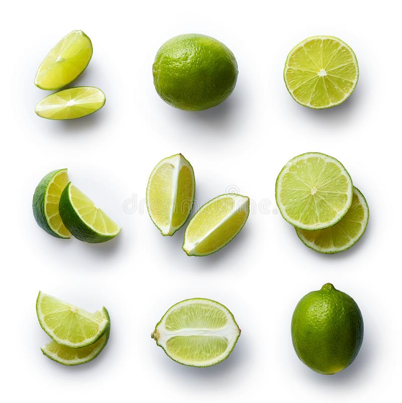 Fresh lime isolated on white background royalty free stock images
