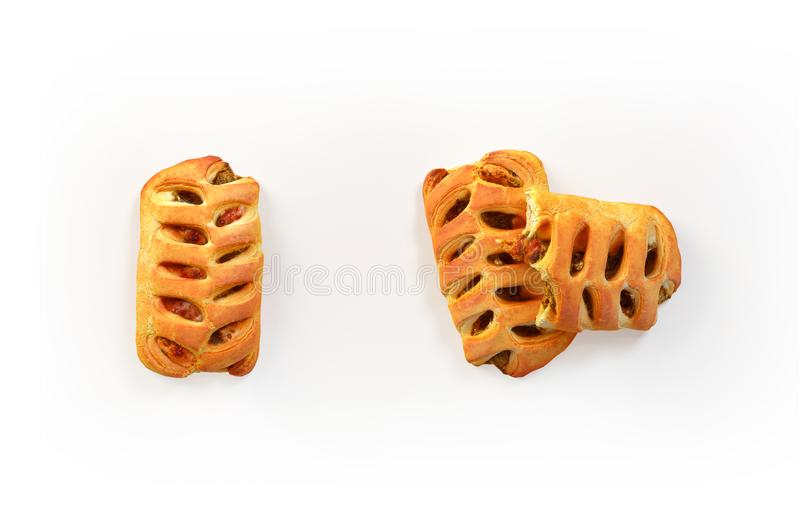 Set of freshly baked pies. With filling isolated on white, top view. 3D illustration vector illustration