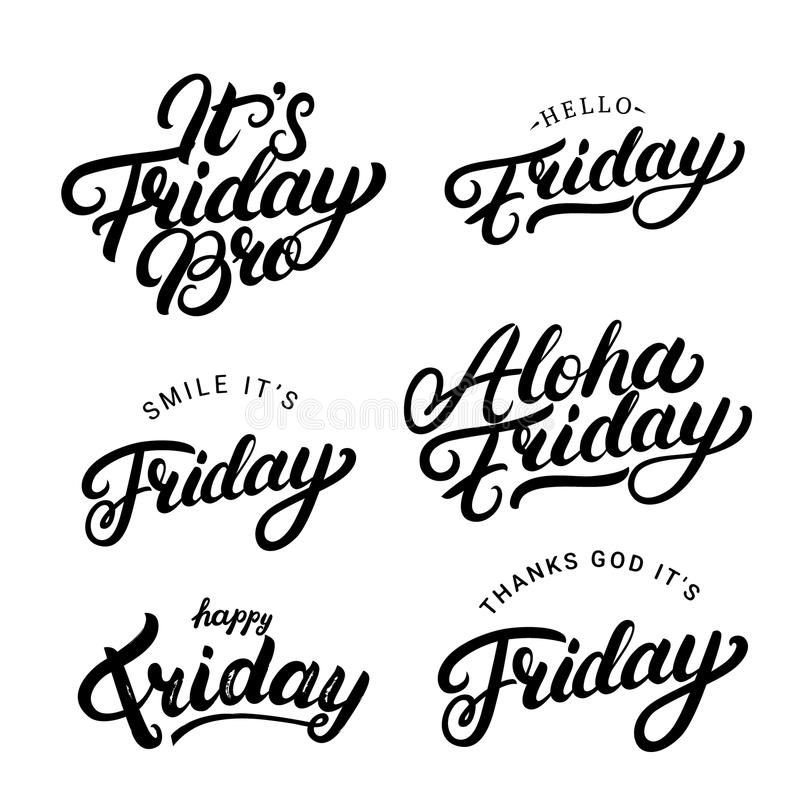 Set of Friday qoutes. Hand written lettering. Motivational weekend quotes. Isolated on white background. Vector illustration stock illustration