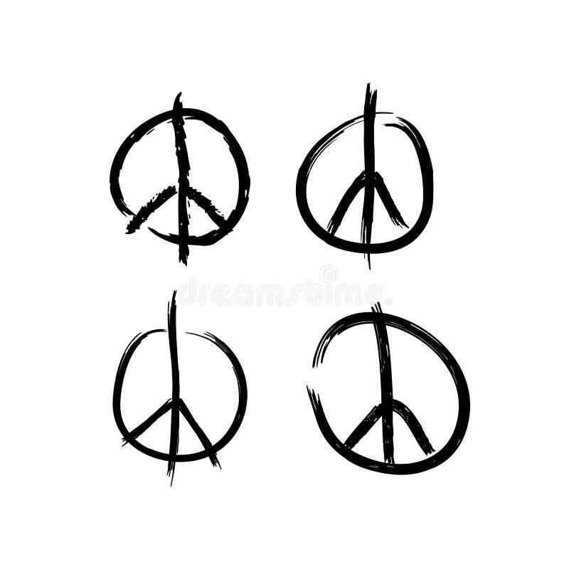 Set Friedenssymbole Gemalt mit rauen Schmutzb?rsten Auch im corel abgehobenen Betrag stock abbildung