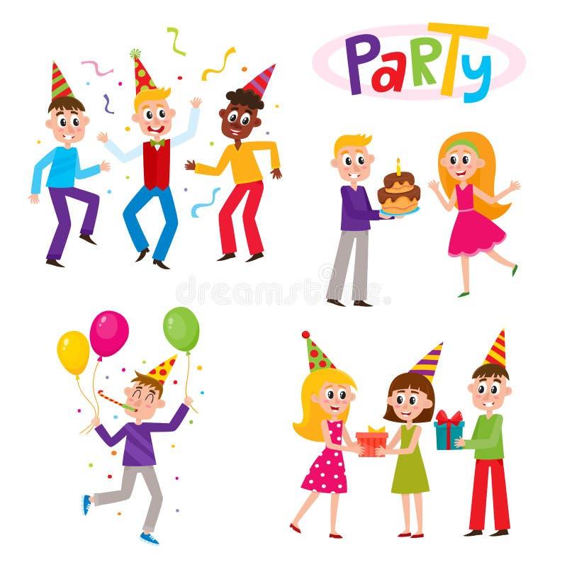 Set of friends having fun at birthday party royalty free illustration