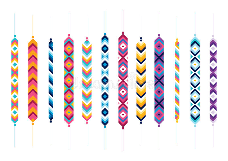 Set of friendship hippy bracelets vector illustration