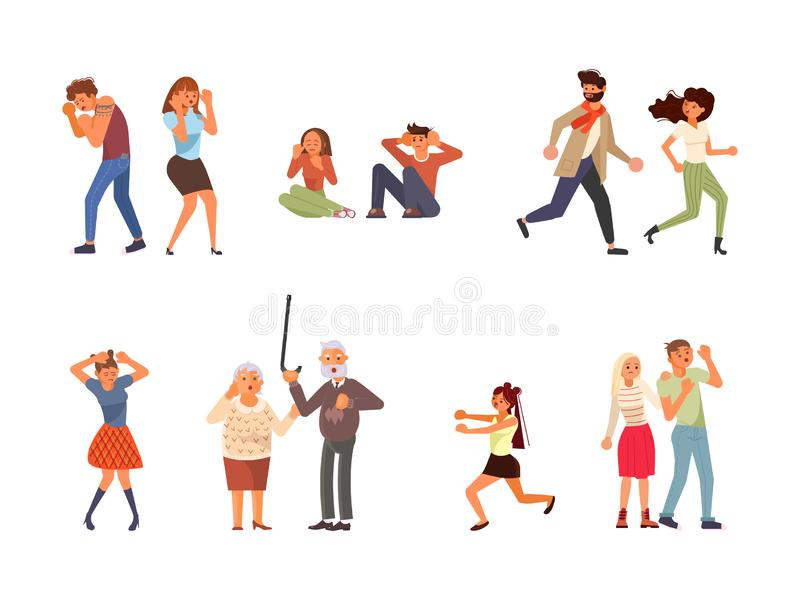 Set of frightened People vector illustration