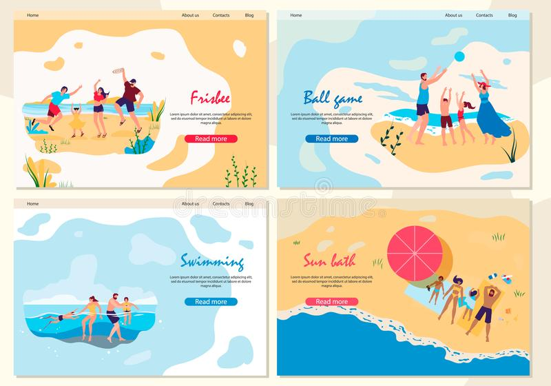 Set Frisbee, Swimming, Ball Game and Sun Bath royalty free illustration