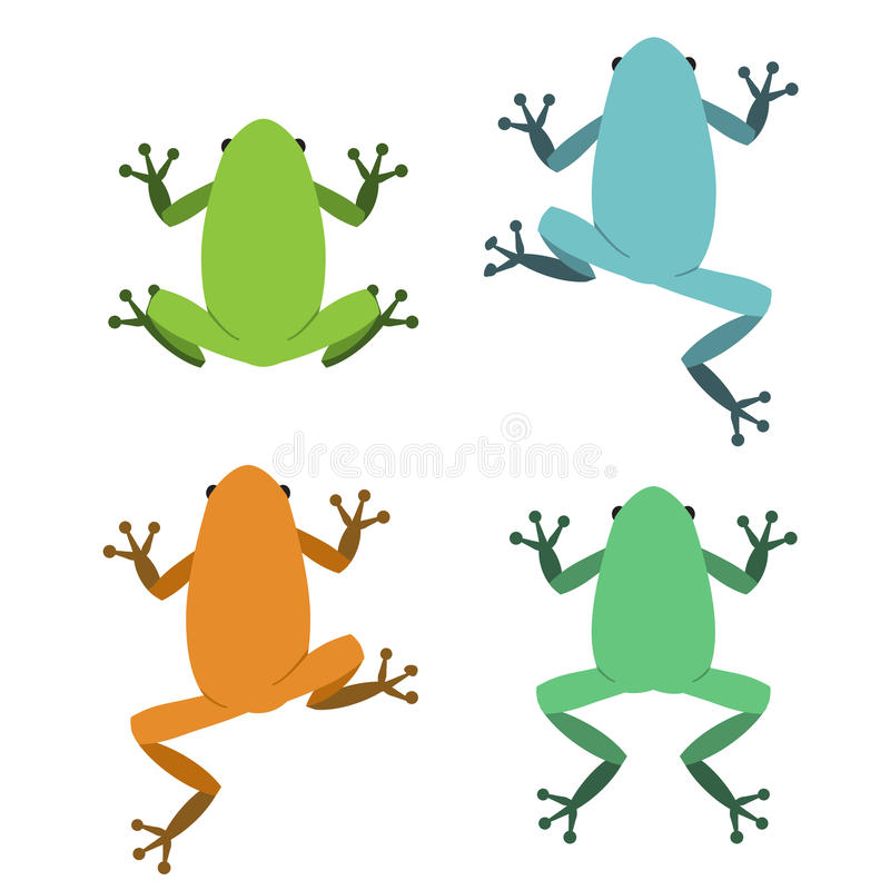 Set of frog in flat style, vector stock illustration