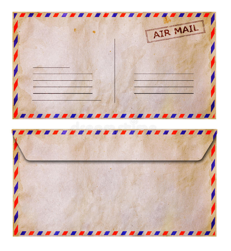 Set of front and back side old grunge airmail envelope. Isolated on white stock photos