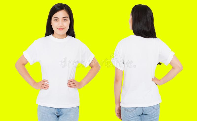 Set front back views china,korean woman in white tshirt isolated on yellow background,Mock up for design. Copy space. Template. Blank stock image