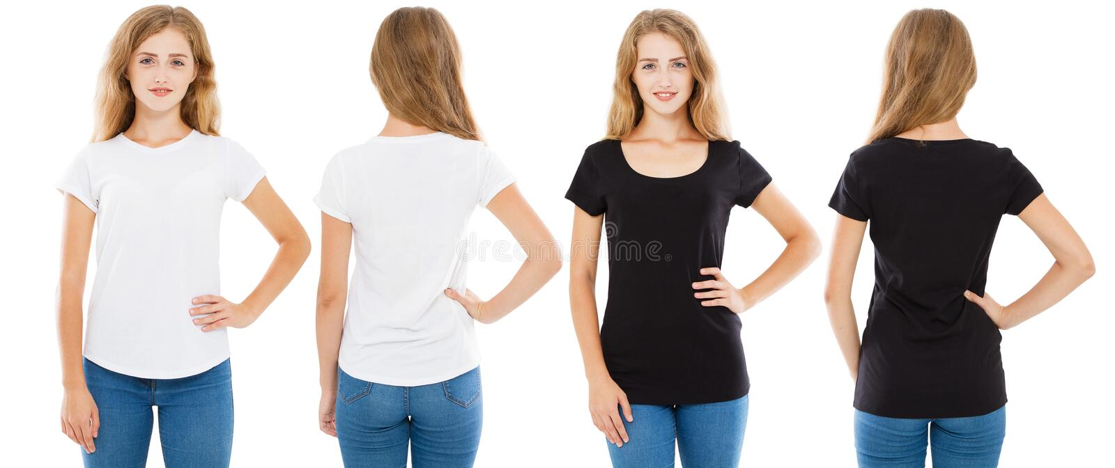 Set front and back views woman in white t-shirt and black t shirt isolated, girl tshirt.  stock photo
