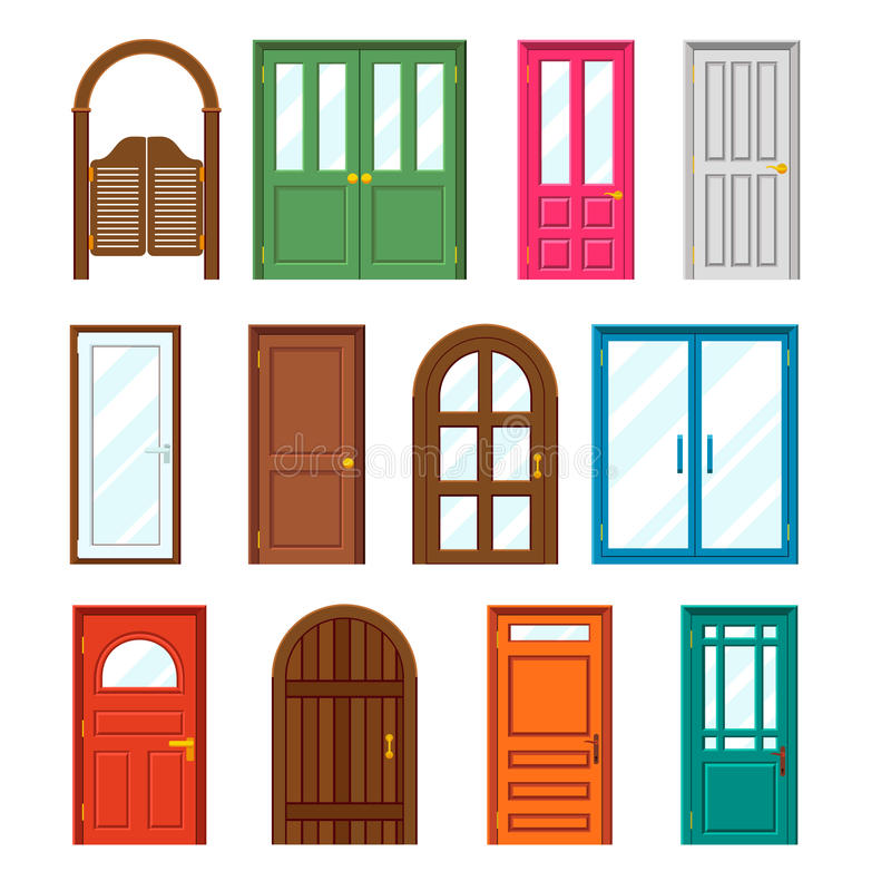 Set of front buildings doors in flat design style royalty free illustration