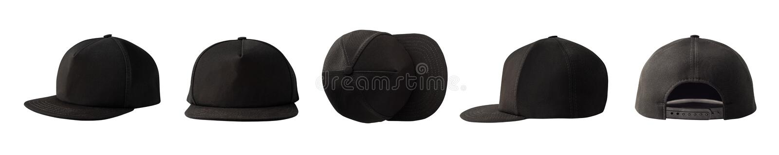 Front, side, top and back views of snapback cap. Set of front, side, top and back views of snapback baseball cap isolated on white background stock image