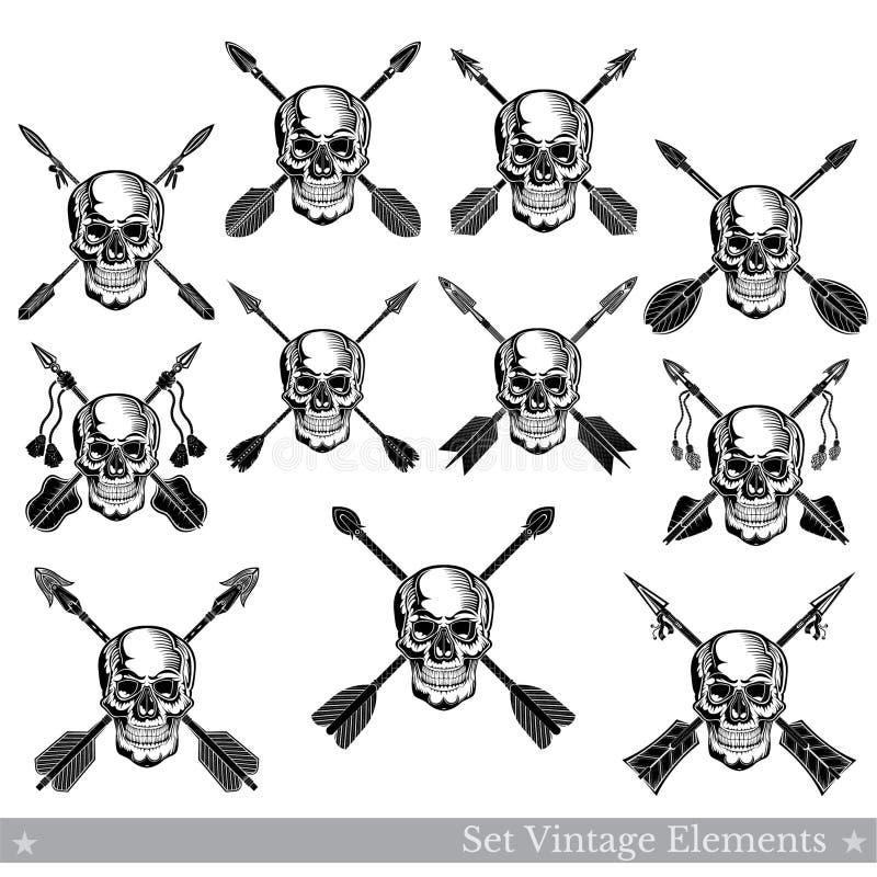 Set frontowego widoku czaszki z niską szczęką z różnymi krzyżować strzałami Wektorowi heraldyczni projektów elementy odizolowywaj ilustracja wektor