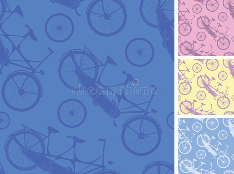 Set of frour tandem bicycles seamless patterns