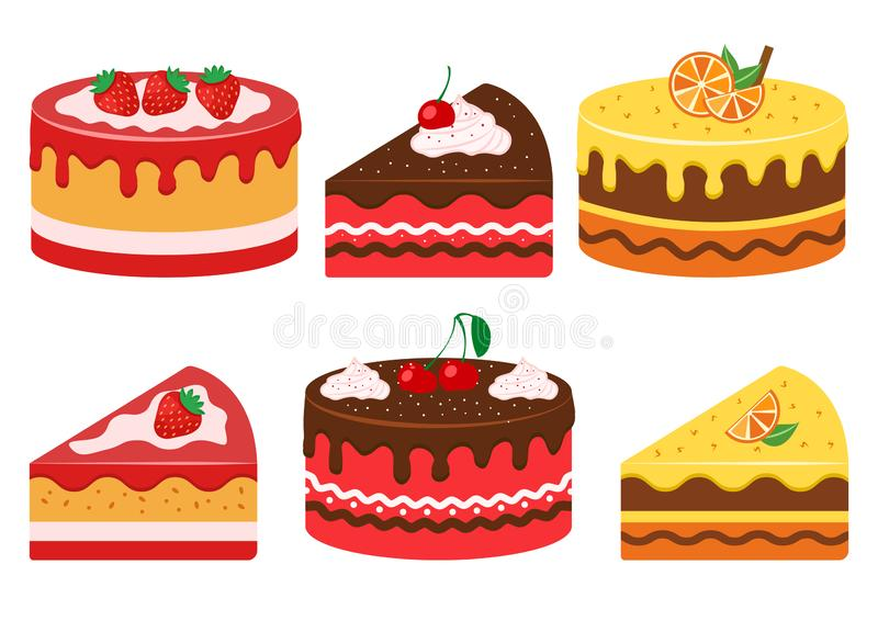 Set of fruit cakes, whole and slice. Vector illustration. Set of fruit cakes, whole and slice. Strawberry, cherry and citrus. Vector illustration royalty free illustration
