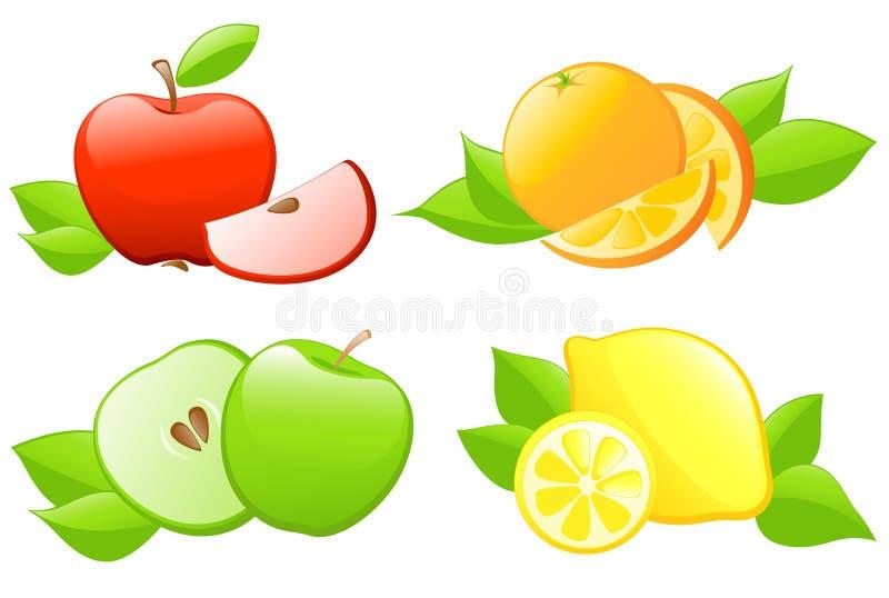 Download Set of fruit icons stock vector. Image of orange, food - 18381904
