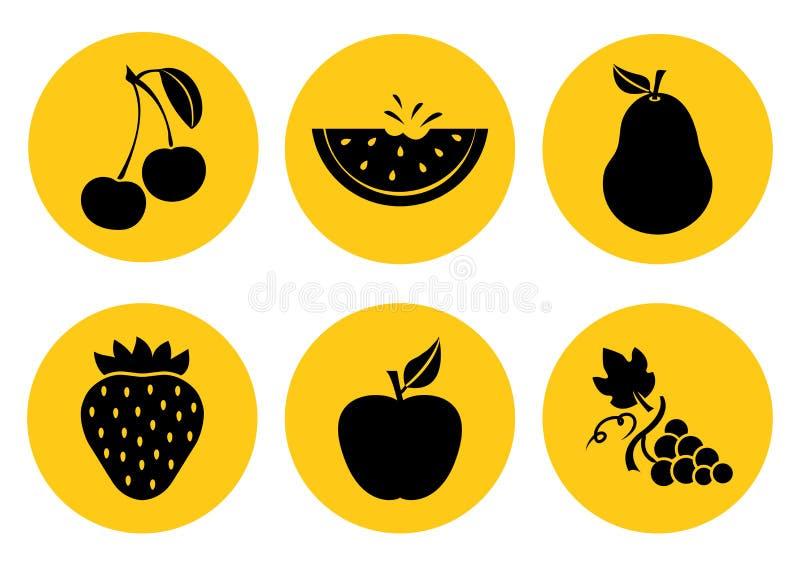 Set of fruit icons. Vector illustration royalty free illustration