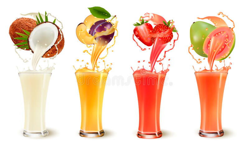 Set of fruit juice splash in a glass. Coconut, plum, strawberry and guava. Vector stock illustration