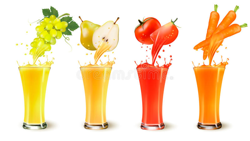 Set of fruit juice splash in a glass. Grapes, pear, tomato and carot. Vector stock illustration