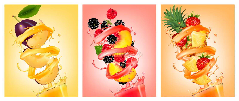 Set of fruit in juice splashes. Peach, strawberry, blackberry, p royalty free illustration