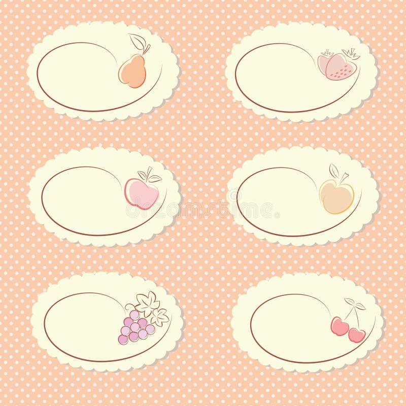 Set of fruit labels royalty free illustration