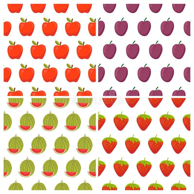 Set of fruit seamless patterns. Healthy food backgrounds vector illustration